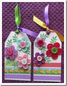 Easter Button Brooches on Gift Tag
