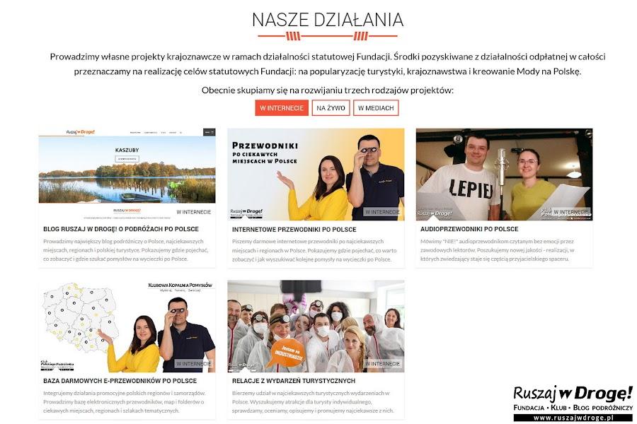 Fundacja Ruszaj w Drogę - projekty dla polskiej turystyki w internecie, mediach i na żywo