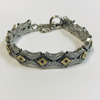 18K Gold, Sterling Silver, and Red Stone Konstantino Bracelet