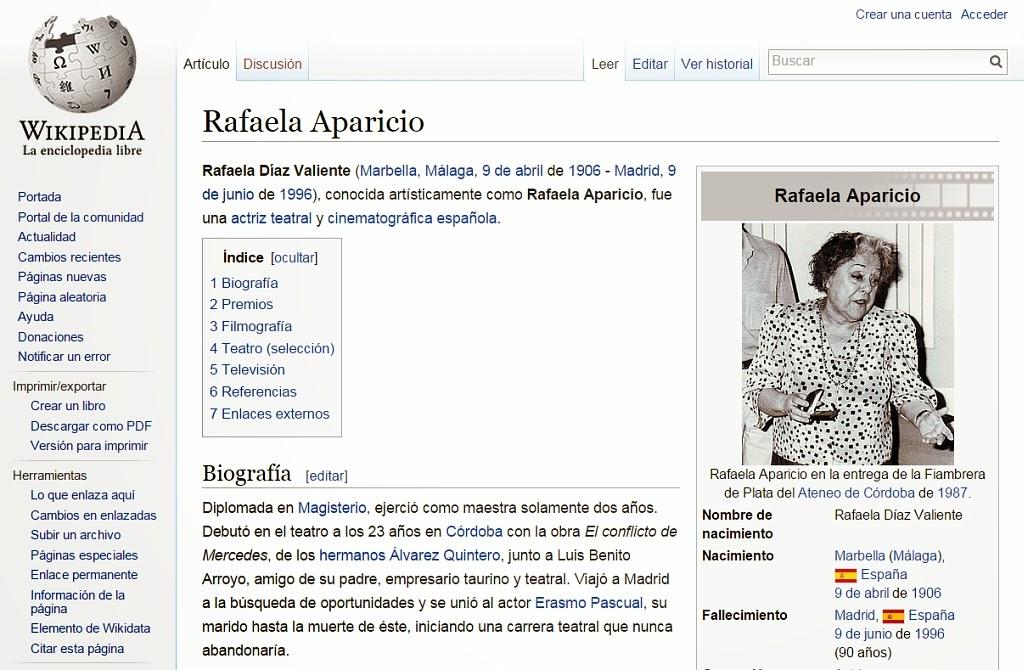 La actriz Rafaela Aparicio en la Wikipedia.