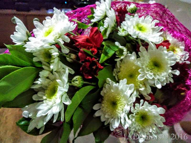 Bouquet of white Malaysian Mums from Jonjie and Daniz for our 17th wedding anniv