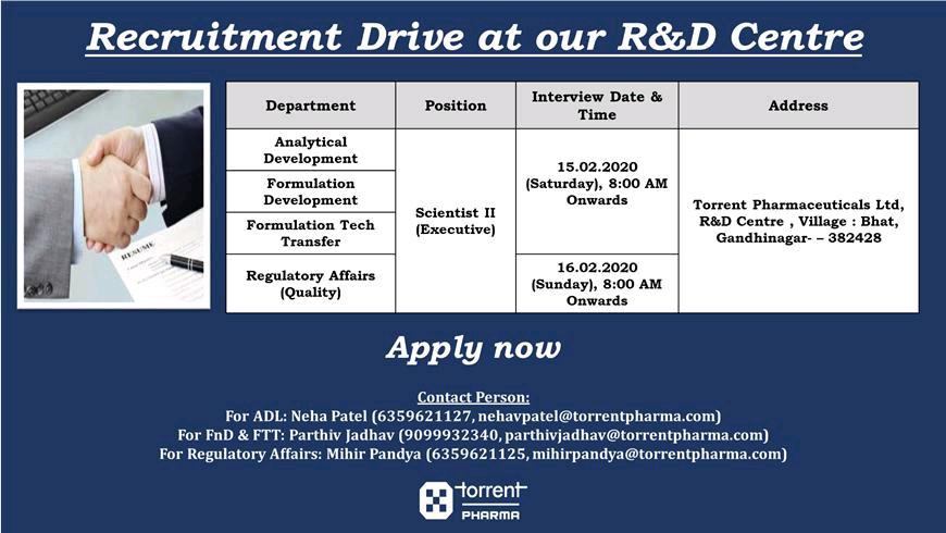 Torrent Pharma - Recruitment Drive for A&D / F&D / Technology Transfer / Regulatory Affairs on 15th & 16th Feb' 2020