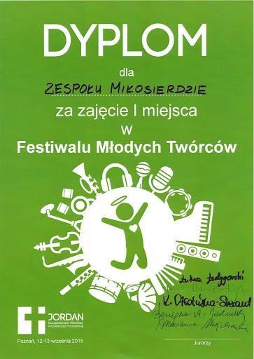 I miejsce na Festiwalu Młodych Twórców Poznań 2015'