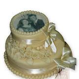10. kép: Fényképes torták - Fényképes rózsás szalagos kétszintes torta