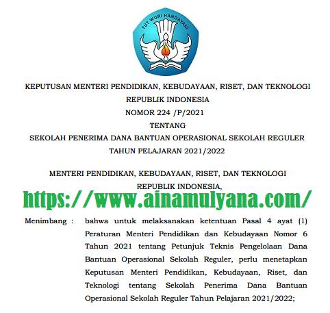 Kepmendikbudristek Nomor 224/P/2021 Tentang Sekolah Penerima Dana BOS Reguler Tahun Pelajaran 2021/2022