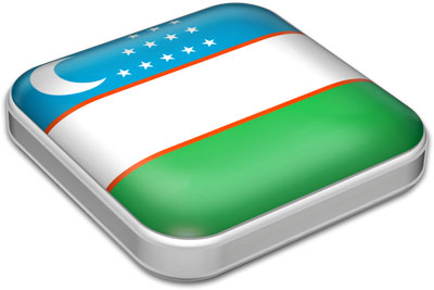 Flag of Uzbekistan with metallic square frame