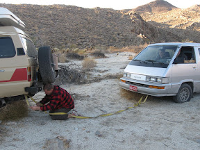 You take a LandCruiser for granted when you are in the Desert. Jan gets ready to tow a 2wd van out of the deep stuff. Hey at least it was a Toyota.