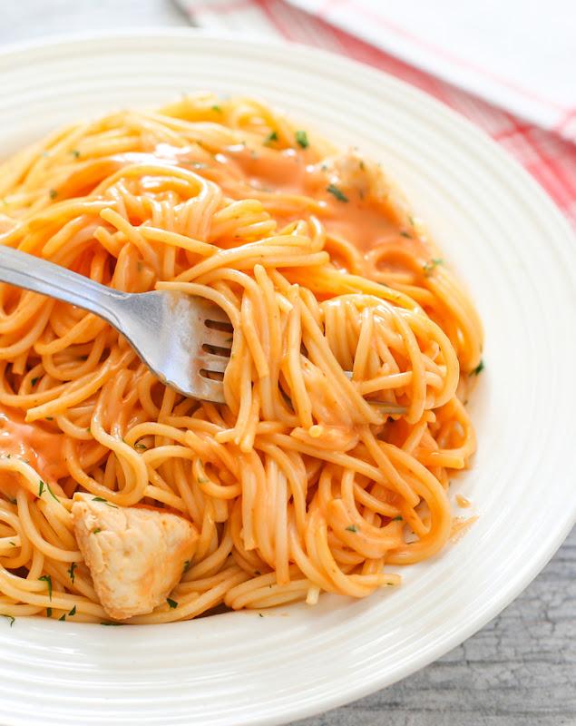 overhead photo of bang bang pasta
