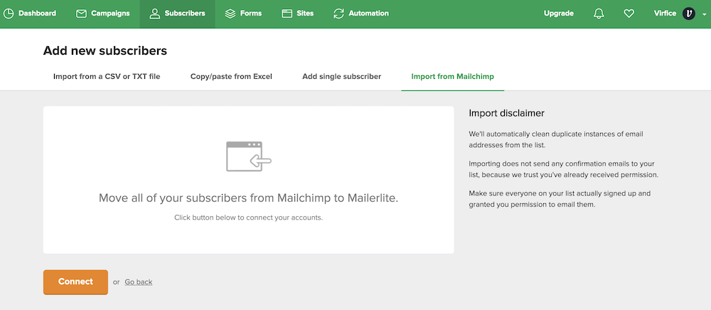 How to import subscribers From MailChimp to MailerLite