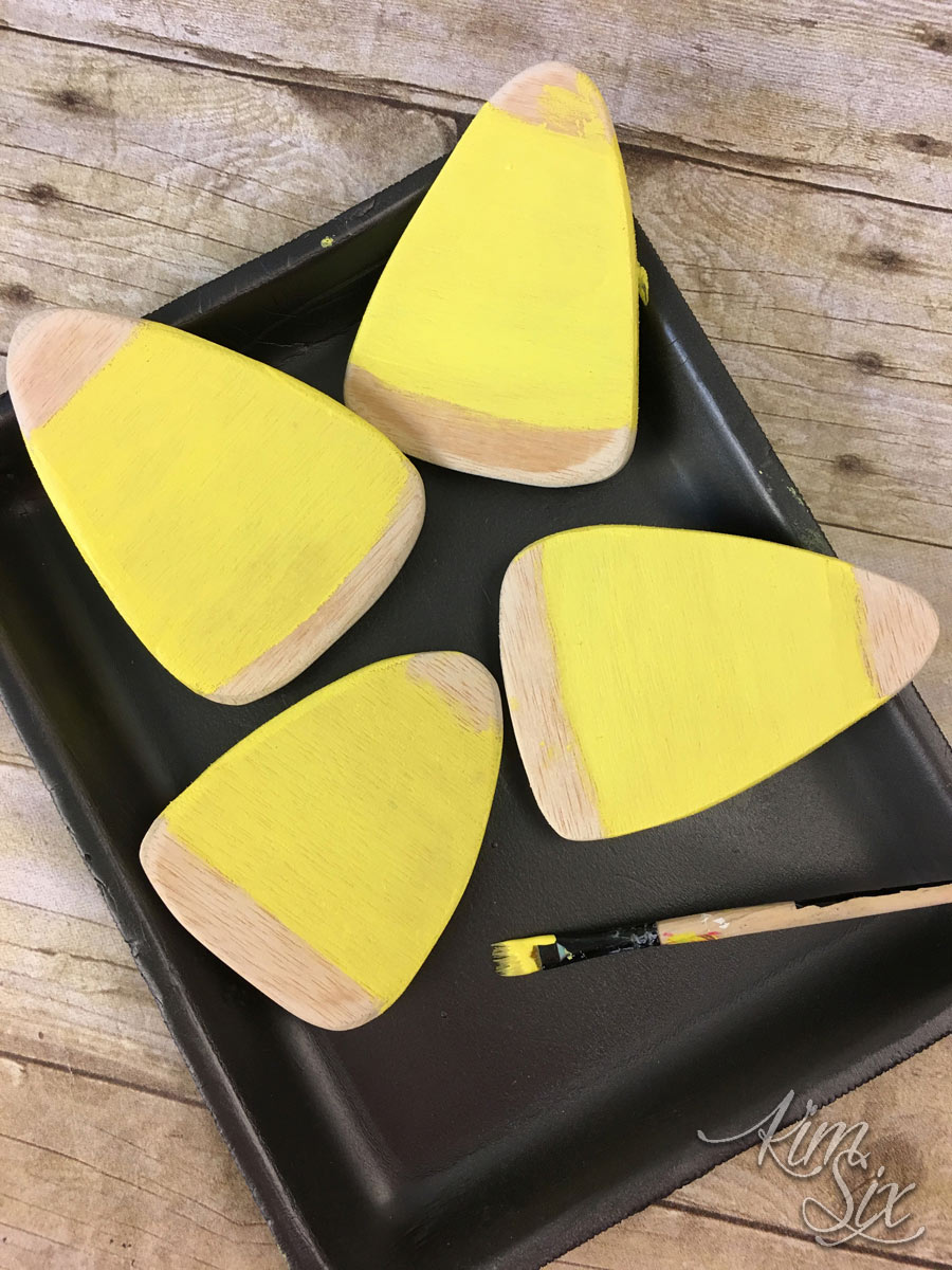 Painted wood candy corn