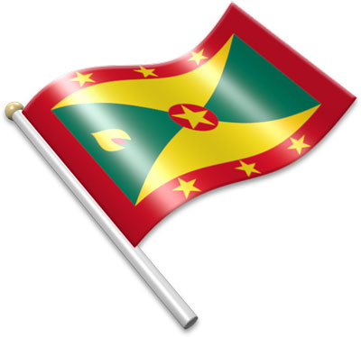 The Grenadian flag on a flagpole clipart image