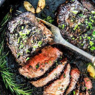 Pan Seared Steak with Balsamic Herb Cream Sauce.