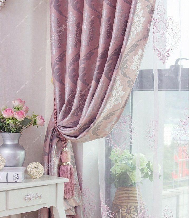 Rèm cửa giá rẻ hcm họa tiết mờ hồng 12