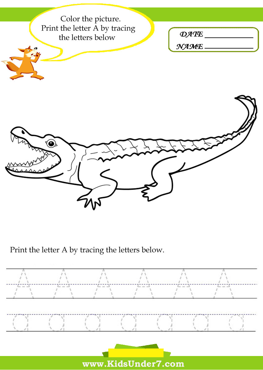 ... Print the letter A by tracing the letters below. A is for alligator