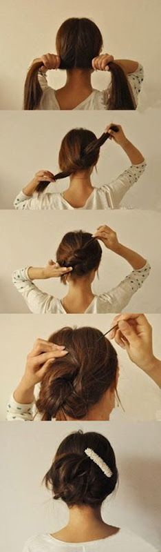 Penteado pra cabelo com grampos