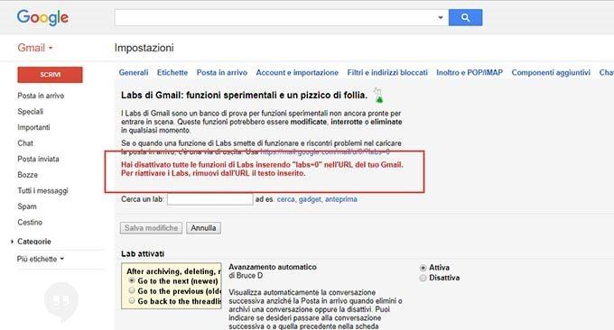 disattivazione-labs-gmail