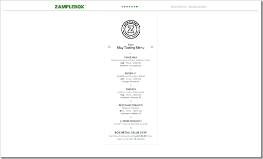 ZampleBox tasting menu