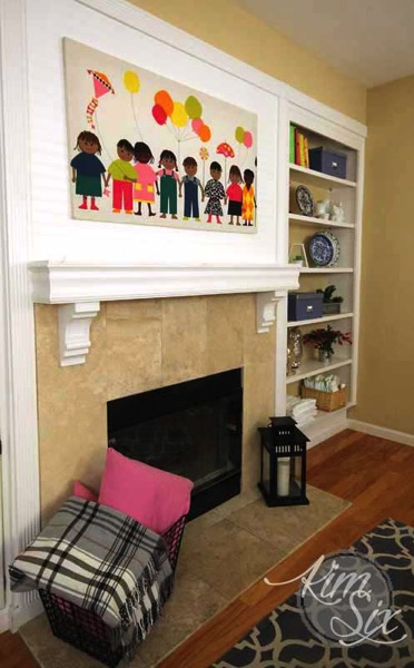 Updated fireplace with beadboard