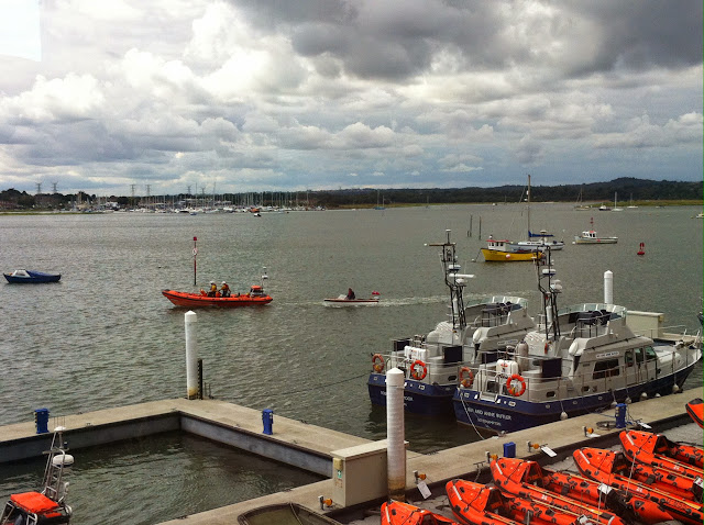 Poole ILB escorting a Thames launch that had gone aground and had mechanical problems 21 August 2014 Photo: Dave Riley