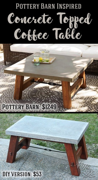 A modern industrial concrete and wood outdoor coffee table.