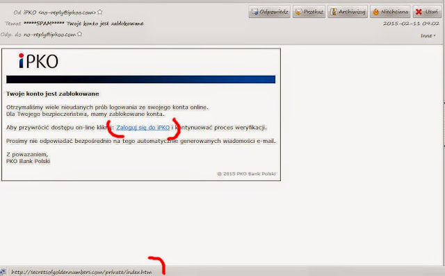 Atak phishingu - fałszywy adres.