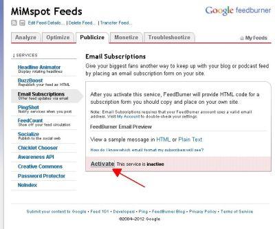 Aktivasi Fasilitas Berlangganan via Email