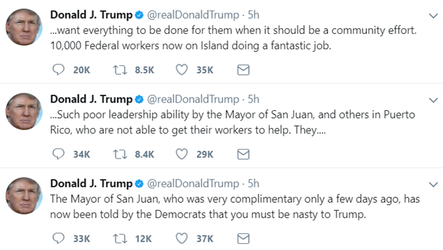 "Three tweets from Trump on 30 September 2017, attacking the leadership of Puerto Rico by claiming they ""want everything to be done for them."" Graphic: Twitter"
