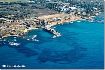 Caesarea harbor aerial from west, tb121704936