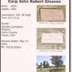 John Robert Gleaves Son of James Robertson and Elizabeth Wood Gleaves Warden Cemetery Weston, Collin County, Texas