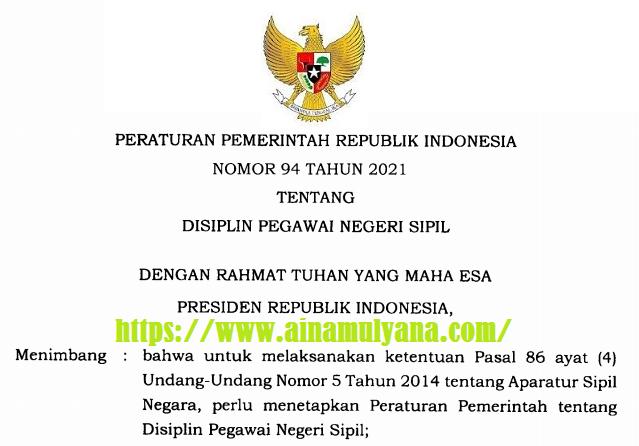 PP Nomor 94 Tahun 2021 Tentang Disiplin Pegawai Negeri Sipil (PNS)