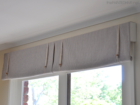 DIY No Sew Rolled Window Valance