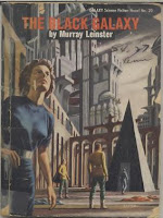 Cover of 1954 Galaxy reprint of the novel The Black Galaxy by Murray Leinster. Image shows human adventurers in the midst of the dead alien world, the world killed by Pyramid people with a death ray so they could loot its treasures.