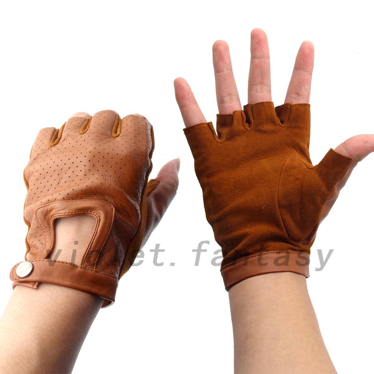 Fingerless driving gloves ebay - Genuine Leather Sheepskin Fingerless Driving Gloves Motorcycle Bicycle