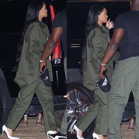 Rihanna wears Balenciaga at Nobu restaurant in Los Angeles