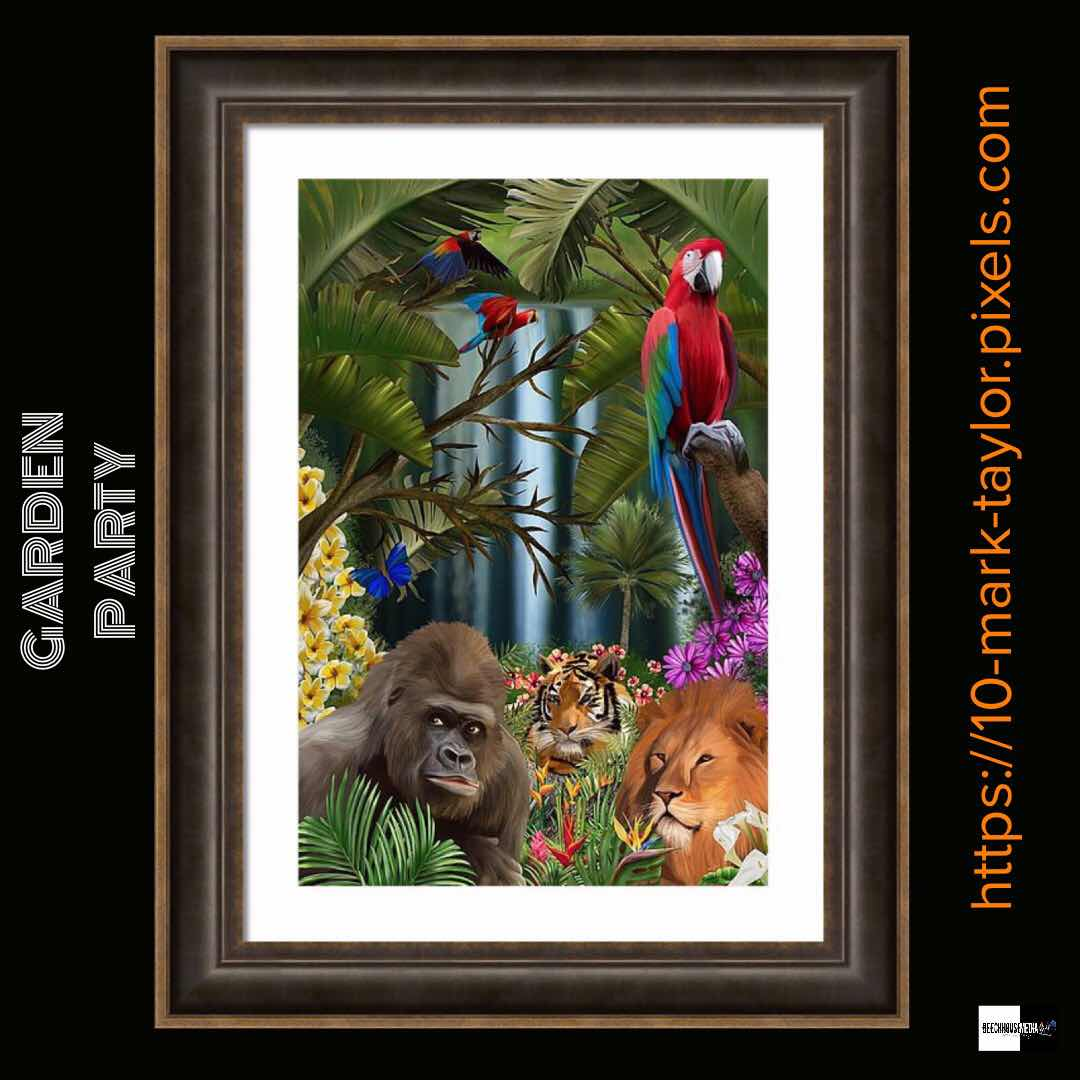 garden party wild animal art by mark Taylor