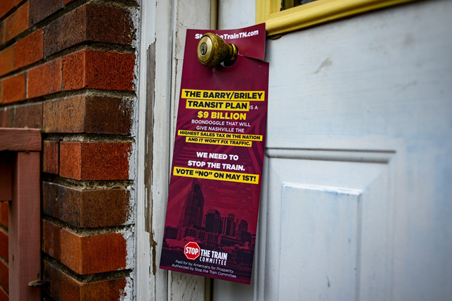 An anti-transit flyer left by an Americans for Prosperity organizer in Nashville, Tennessee. The Koch-sponsored group made nearly 42,000 phone calls and knocked on more than 6,000 doors in Nashville. Photo: William DeShazer / The New York Times