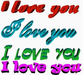 3d надписи I love you