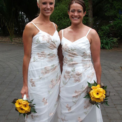 Valerie's bridesmaids - embroidered tulle over satin