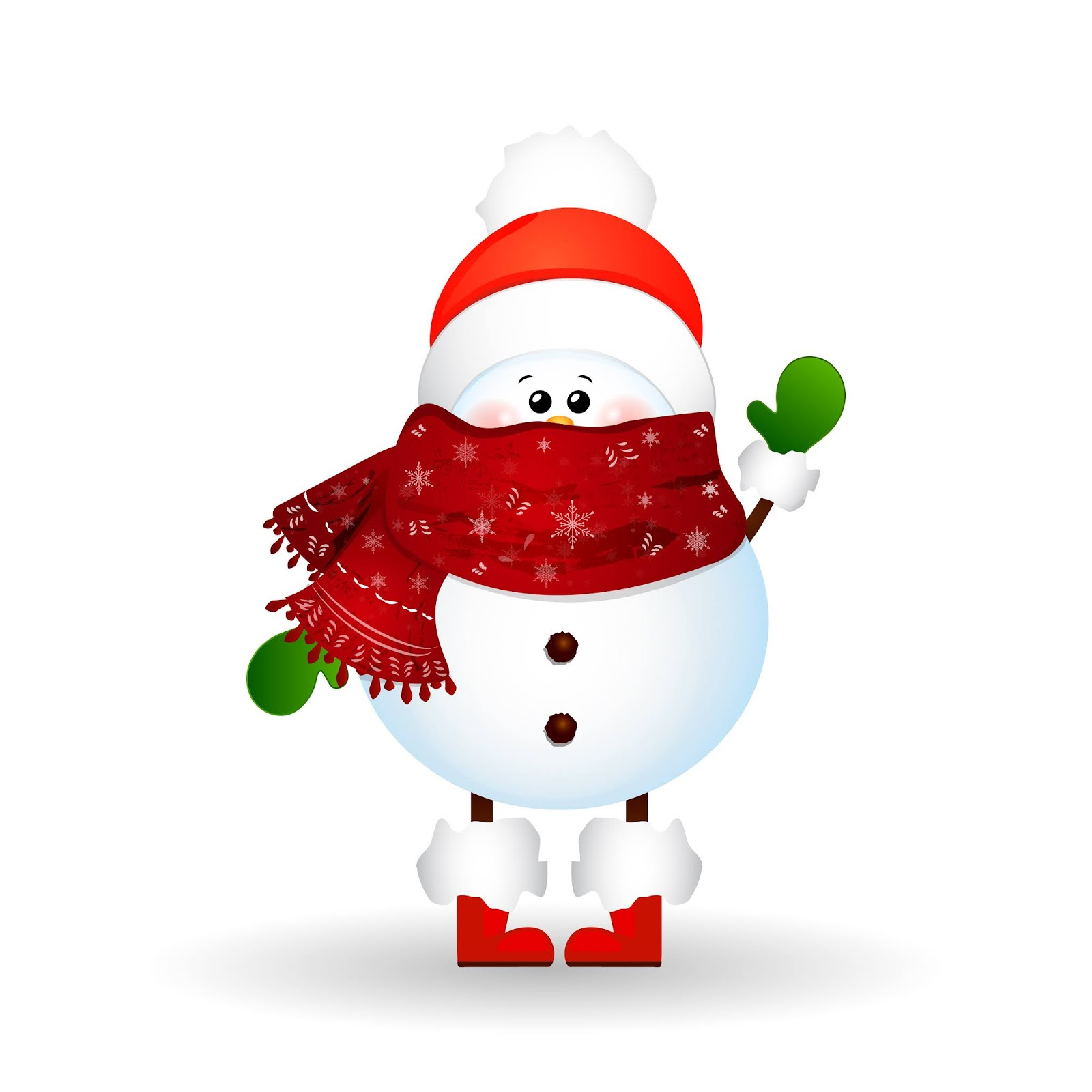 Christmas Cute Snowman With Scarf Red Santa Claus Hat Greetings Isolated White Background Vector Cartoon Illustration Free Download Vector CDR, AI, EPS and PNG Formats