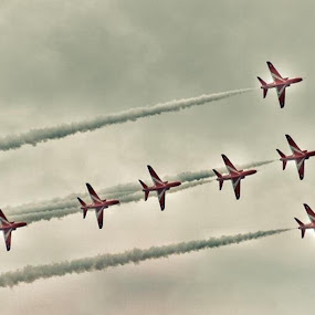 Red Arrows by Richard Adams - Transportation Airplanes ( red arrows, reds, speed, display, raf,  )