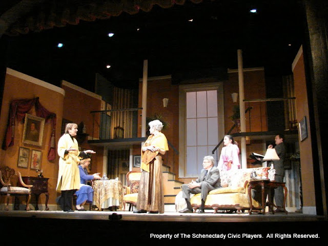 Benita Zahn, Patricia Hoffman, Joanne Westervelt, Richard Harte, Stephanie G. Insogna and Richard Michael Roe in THE ROYAL FAMILY (R) - December 2011.  Property of The Schenectady Civic Players Theater Archive.