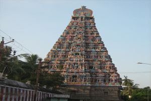 Mayiladuthurai Temple Majestic Main Gopuram Side View