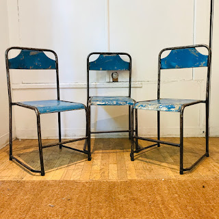 Vintage Steel Bistro Chair Trio