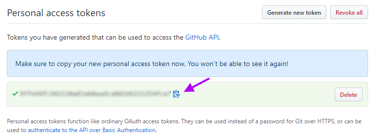 Copy access token somewhere safe