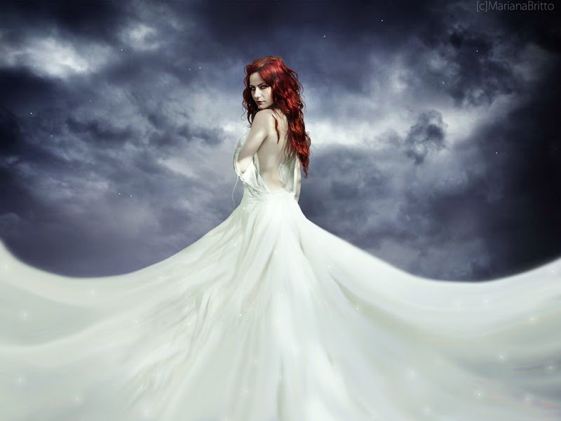 White Dress And Night Sky Girl, Magic Beauties 1