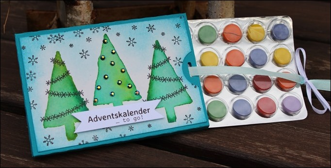 Adventskalender to go Stampin Up Christbaumfestival Watercolor Modern Christmas 03