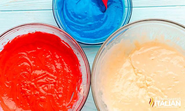 3 bowls of colored cake batter