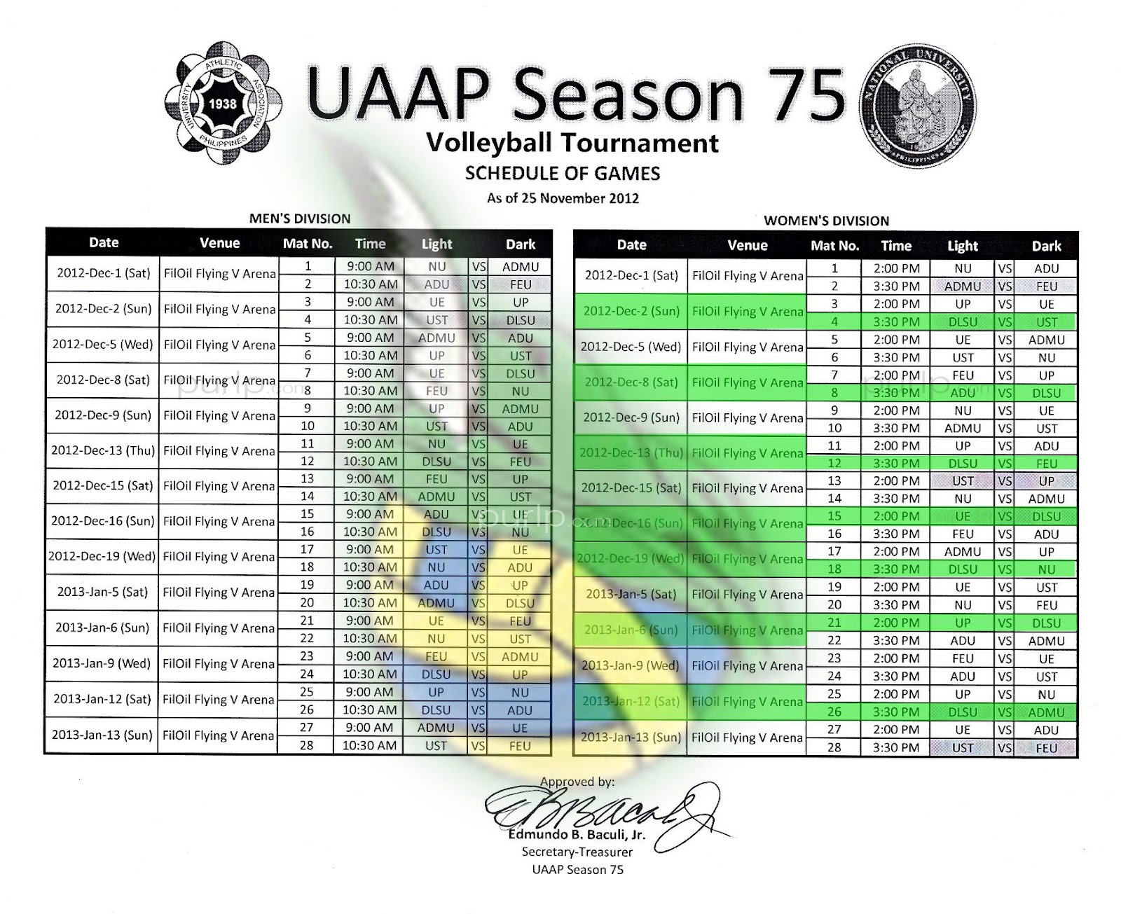 UAAP Season 75 Volleyball - Men's & Women's - Game Schedule