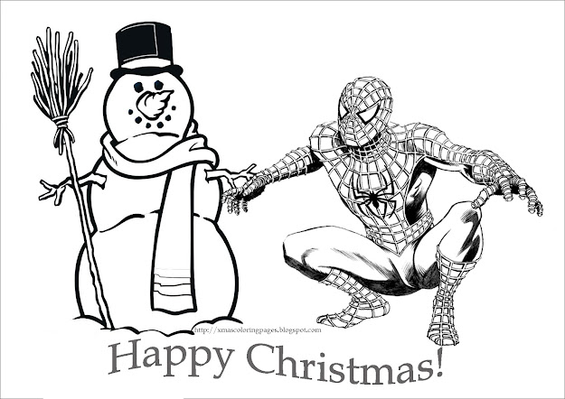 Coloring Pages Spiderman Christmas Coloring Pages  Kids Coloring