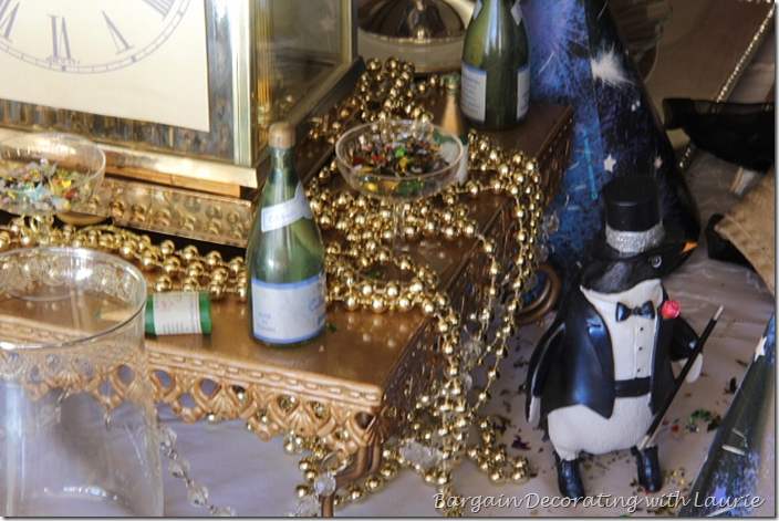 Penquin in tux for new year's tablescape